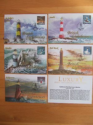 GREAT BRITAIN 1998 LIGHTHOUSES LUXURY LTD EDITION x 5 FIRST DAY COVERS