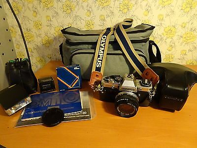 Olympus OM10 35mm SLR Camera with 50mm 1.8 Lens and Accessories