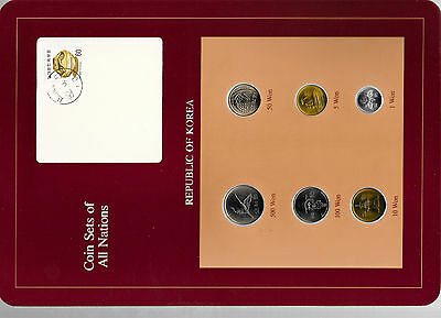 Coin Sets of All Nations Korea all 1983 but 100,500 Won 1984 UNC w/card 82.5.21