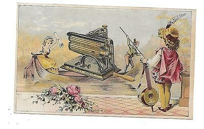 Welcome Clothes Wringer-Fluting Machine-Spring Mattress-Victorian Trade Card