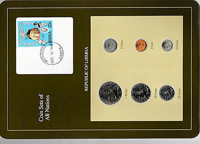 Coin Sets of All Nations Liberia wcard UNC 1,5,10 cents 1984 $1 25,50 cents 1968