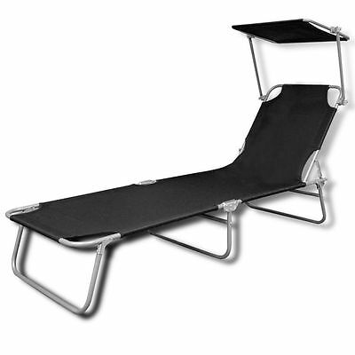 Beach Camping Foldable Sunbed Canopy Sun Shade Black Relaxing Lounger Polyester