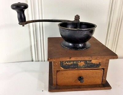 Antique Vintage 1800s Arcade Wood & Cast Iron Coffee Grinder
