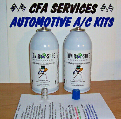 2 CANS R12 SYSTEMS COMPATIBLE RECHARGE REFRIGERANT + ADAPTER FITS 1994 and OLDER