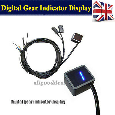 General LCD Digital Gear Indicator Motorbike Display LED Shift Lever Sensor Blue