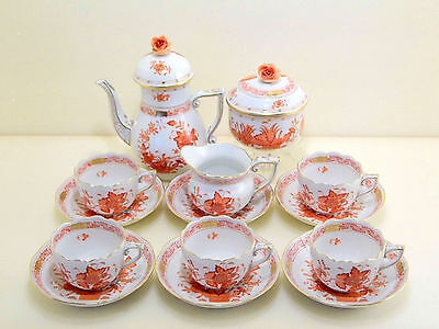 Herend Indian Basket Rust Espresso Coffee Set,for Five,16 Pieces,mint Condition