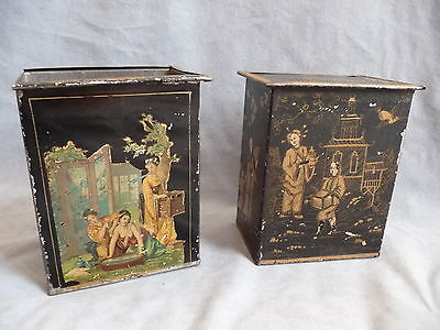 2 p antique chinese tea caddy tin box tee blechdose container  late 19.th c