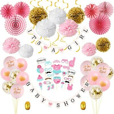 Baby Shower Banners Birthday Props Pom poms Bunting Garland Party Hanging Decor