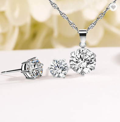 925 Silver Wedding Jewelry Set, Bridesmaid Crystal Necklace & Earring UK Seller