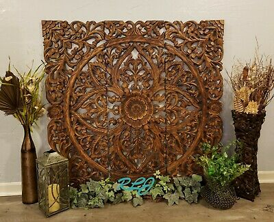 Large Square Rustic Tuscan Scrolling Carved Dark Wood Set/3 Wall Panels  Decor