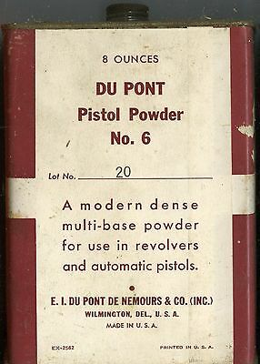 Vintage DUPONT Number 6 Pistol Powder Can (EMPTY)