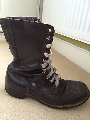 Unisex Vintage 60's Black Leather Military Boots, Men's UK Size 8 to 9.