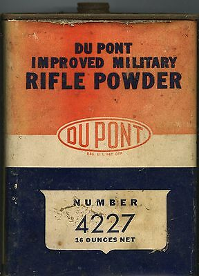 Vintage DUPONT IMPROVED MILITARY RIFLE POWDER 4227 TIN CAN (EMPTY)