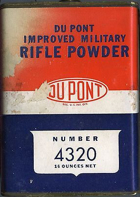 Vintage DUPONT IMPROVED MILITARY RIFLE POWDER 4320 TIN CAN (EMPTY)