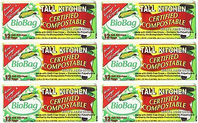 BioBag Certified Compostable 13 Gallon Tall Kitchen Bags (12 ct) - Lot of 6 New