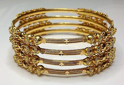 Estate 22K Solid Yellow Gold Stackable Ribbed Bangle Bracelets 17 Grams