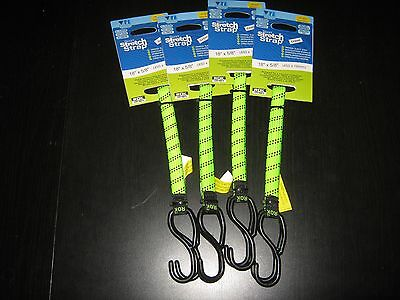 """Rok Straps Lot Of 4 18"""" X 5/8 Green Tie Down Camp Motorcycling Bungee"""