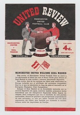 Orig.PRG  European Cup 1956/57  MANCHESTER UNITED - REAL MADRID 1/2 FINAL ! RARE
