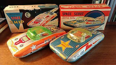 TWO Boxed Tin Friction Space Scout Car Ship S&E Japan 1960's SS-18 & X-5 Works