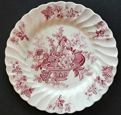 "Vintage Bountiful Red, Staffordshire 10"" Plate, Myott Son & Co., Made In England"