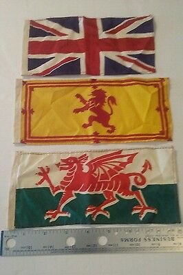3 Vintage United Kingdom Flags Britain, Scotland & Wales Small Sized Flags Nice