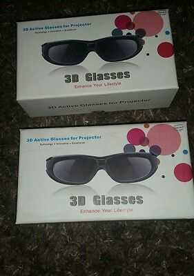 3d active glasses for projector rechargable  2 pairs