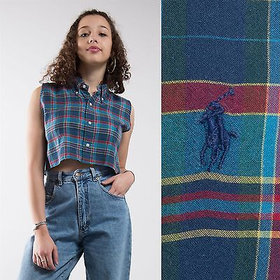 Vintage 90's Womens Ralph Lauren Reworked Cropped Shirt Top Blue Check 10 12