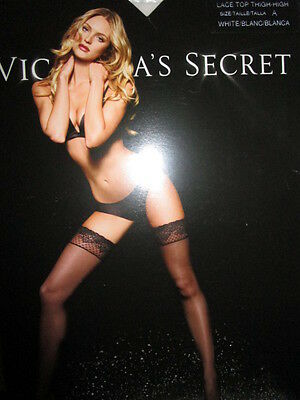 VICTORIA'S SECRET  Lace Top Thigh-High Stockings ~ White ~ Size A~New in Package