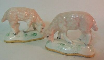 Antique Ceramic Pottery Pair Staffordshire SHEEP Lambs Farm Spongeware Spatter