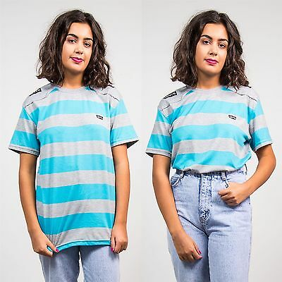 Levi's Retro Womens 90's T-Shirt Blue Striped Sports Crew Neck Top 10 12