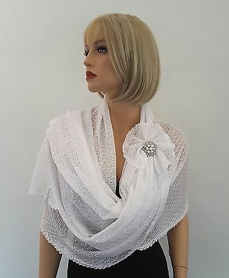 Hand Knitted White or Silver Grey Colour Bridal Wedding, Occasion Shawl - Wrap