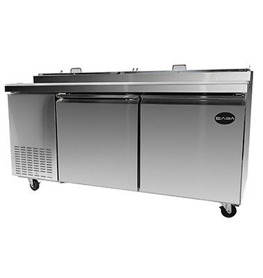 "New 71"" Refrigerated Pizza Prep Table 2 Doors 9 Pans 14"" Deep Board & Casters"