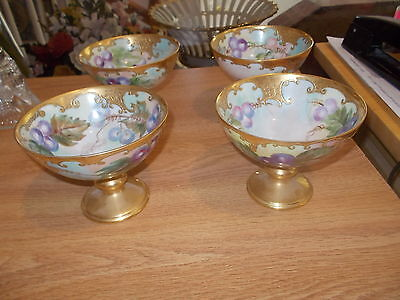 4 Exquisite T&V LIMOGES Handpainted Footed Punch Bowl Cups - Grapes w/Heavy Gilt