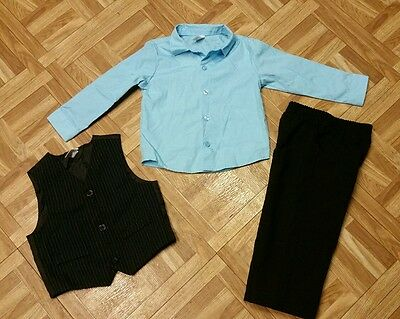 Toddler Boys size 24M suit blue & black 3 piece suitset vest shirt and pants EUC