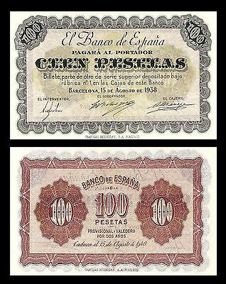 * * * 100 Spanish Pesetas - Issue 1938 Barcelona - 1 Banknote - 19 * * *
