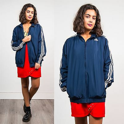 Adidas Vintage 90's Womens Tracksuit Jacket Top Navy Blue Three Stripe Sports 12