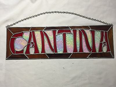 Cantina Stain Glass Bar Sign Mexican Saloon Man Cave 20 X 6 Inches