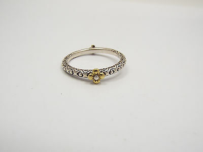 Barbara Bixby Sterling Silver & 18k Yellow Gold Flower Stackable Ring, size 9.75