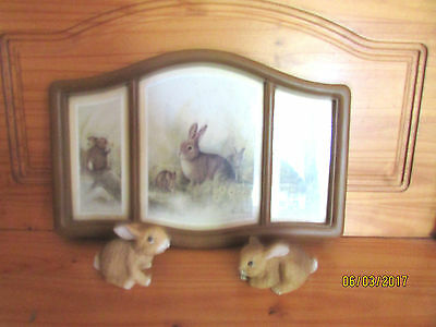 Homco Bunny Rabbits #1465 & Picture Ruane Manning