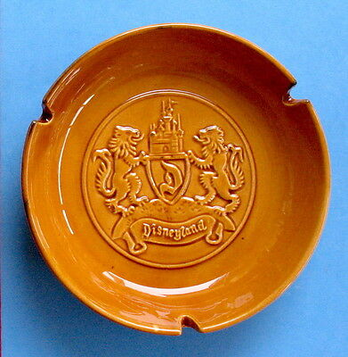 1950s DISNEYLAND ~ LION CREST ASHTRAY ~SLEEPING  BEAUTY  CASTLE ~ GOLD Ceramic