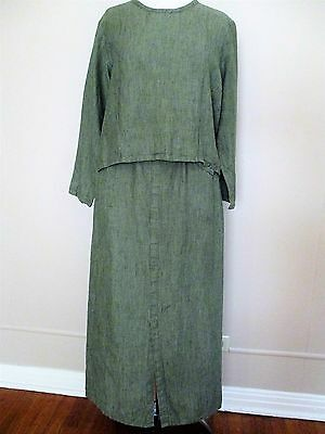 Flax Skirt Outfit green linen cropped top long skirt S/M Ladies