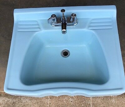 Vtg Mid Century Art Deco Blue Ceramic Wall Bathroom Sink Old (Unusual)p