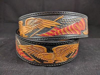 1993 Red Wing Shoes Leather American Flag Eagle Belt Silver Buckle Engraved USA