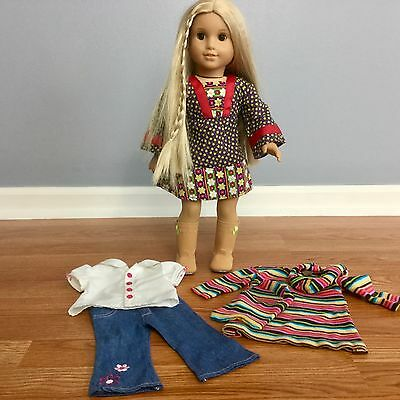 """AMERICAN GIRL DOLL Julie GOTY EUC 18"""" Calico Dress Boots Clothes Lot Blonde Hair"""