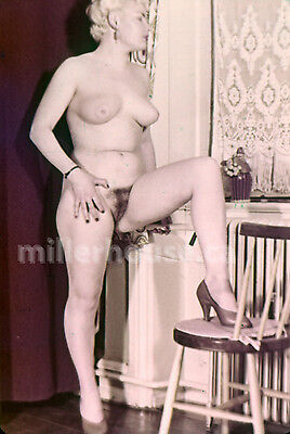 1950's Busty Blonde Original Nude Pin-Up 35mm Film Transparency Slide Photo #2