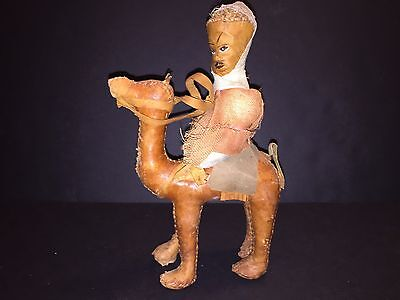 Leather Camel With Rider Figure Hand Made & Stitched Collectible Vintage