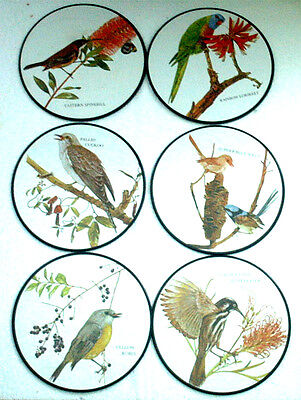 SET OF 6 ROUND COASTERS DECORATED WITH EXOTIC BIRDS. DIAMETER 7½ INCHES / 19 cm
