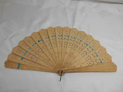Old Vtg 1947 HAND HELD WOOD FAN Ornate Design Personalized Fashion Accessories
