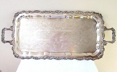 """Big 26"""" Vintage Silver Plate Tray Serving Butler Chased Footed Ornate Display"""
