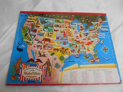 Old Vtg WHITMAN 48 State PICTURE MAP PUZZLE United States of America No.4426:29